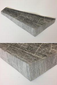 O.T. Tusche auf Papierkaschur, 68 x 36 x 7 ( Objekt, unten Detail )