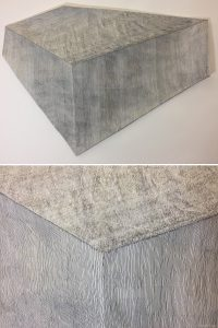 O.T. Tusche auf Papierkaschur, 109 x 81 x 10 ( Objekt, unten Detail )